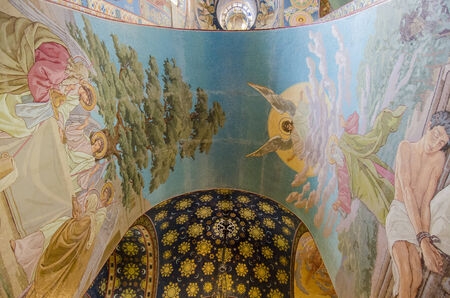 Arch detail of the inside of the Church of the Spilled Blood, St Petersburg, Russia