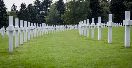 headstones: Rows of white headstones