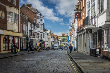 kerb: Shoppers in Guildford High Street