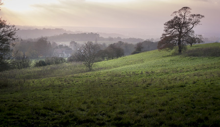 kent: View from the North Downs of Boxley village in mist at the end of the day Stock Photo