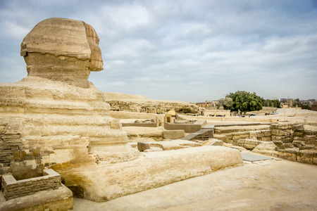 egyptology: The Sphinx looking out towards Giza and Cairo, Egypt