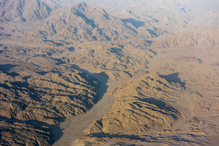 sinai peninsula: View of the mountains in Egypt from the air