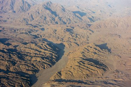 monte sinai: Vista de las monta�as en Egipto desde el aire Foto de archivo