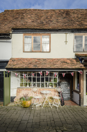 quaint: Quaint old fashioned  English tea rooms with Union Jack bunting