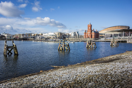 Landscape view of Cardiff Bay, Wales, UK