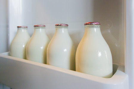 Landscape image of four glass milk bottles in a fridge door shelf Stock Photo