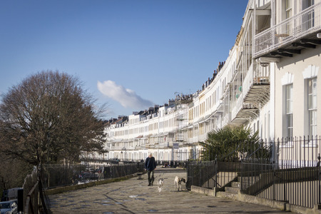 reputed: CLIFTON, BRISTOL, UK, 30 JANUARY 2015 - A row of terraced houses, part of the Royal York Crescent in Clifton, Bristol UK, which is reputed to be the longest Georgian crescent in Europe Editorial