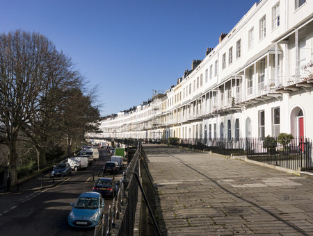 english west country: A row of terraced houses, part of the Royal York Crescent in Clifton, Bristol UK, which is reputed to be the longest Georgian crescent in Europe Editorial
