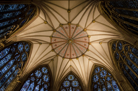 york minster: The Chapter House ceiling and windows (completed 1186 AD) in York Minster, York, UK Editorial