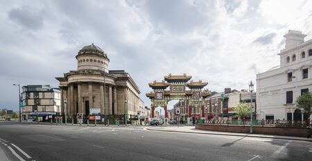 congregational: LIVERPOOL UK, MAY 6 2012: Entrance to China Town district and the Blackie, old congregational church in Liverpool, UK Editorial