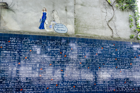 The I Love You Wall, a work of art conceived by Frédéric Baron and Claire Kito. The words