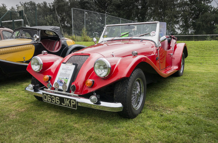 roadster: APPLEDORE, KENT, UK, 20TH JULY 2014 - Red Griffon Roadster car at a car show in Kent, UK