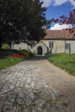 kent: Pathway to Saint Martin of Tours Church in the village of Detling Kent UK
