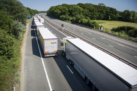 hottest: Operation Stack is in place on the M20 on the hottest day of the year, due to the Port of Calais being closed because of industrial action launched by French ferry workers.