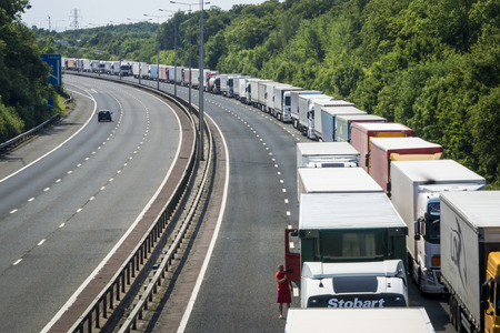 Operation Stack is in place on the M20 on the hottest day of the year, due to the Port of Calais being closed because of industrial action launched by French ferry workers.