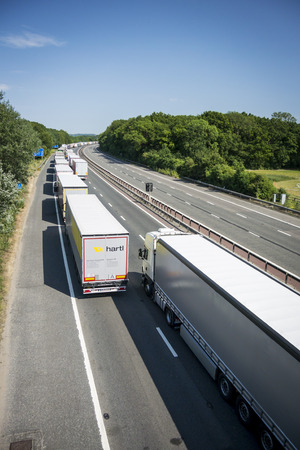 gridlock: Operation Stack is in place on the M20 on the hottest day of the year, due to the Port of Calais being closed because of industrial action launched by French ferry workers.