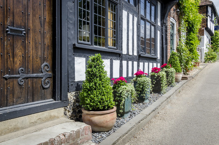 tudor: The front of a Tudor cottage in the village of Chilham, Kent, UK Stock Photo