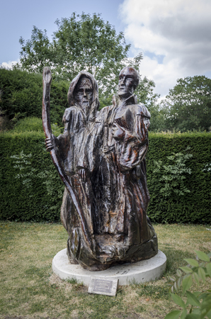 english oak: Oak carving by Steven Andrews, donated to the parish of Chilham, Kent, UK Stock Photo