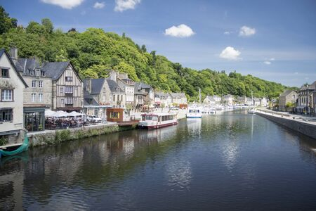 dinan: View of the port and the river Rance at Dinan, Brittany, France