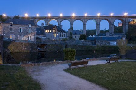 rance: Night view of the viaduct crossing the river Rance at Dinan, Brittany, France Stock Photo