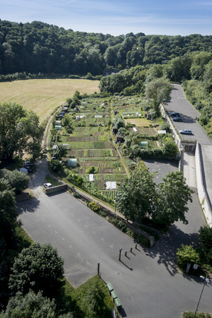 dinan: Birds eye view of vegetable allotments in Dinan, Brittany, France