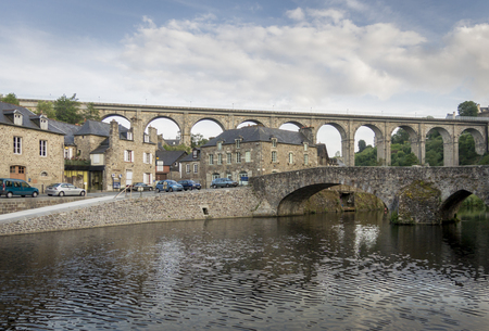 rance: The port of Dinan, Brittany, France, with the viaduct and bridge crossing the river Rance