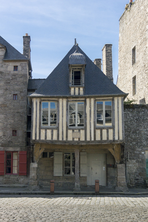 dinan: Medieval wooden structured building in the city of Dinan, Brittany, France Stock Photo