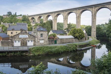 dinan: The viaduct at Dinan, Brittany, France, crossing the river Rance Stock Photo