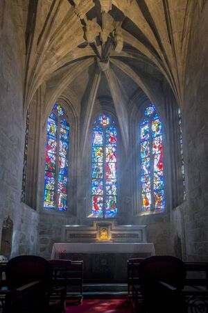 dinan: DINAN, BRITTANY, FRANCE, 15 JUNE 2015 -  Interior of the Basilique Saint-Sauveur, church in the city of Dinan, Brittany, France