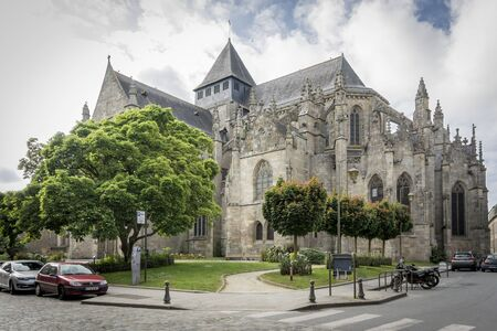 st  malo: DINAN, BRITTANY, FRANCE, 15 JUNE 2015 -  medieval church St Malo, in the city of Dinan, Brittany, France Editorial