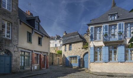dinan: Medieval buildings in the city of Dinan, Brittany, France