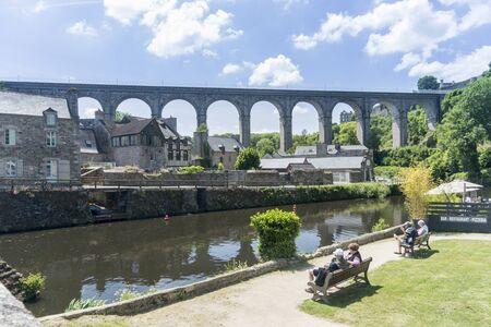rance: DINAN, BRITTANY, FRANCE, 15 JUNE 2015 -  The viaduct crossing the river Rance at Dinan, Brittany, France, Editorial