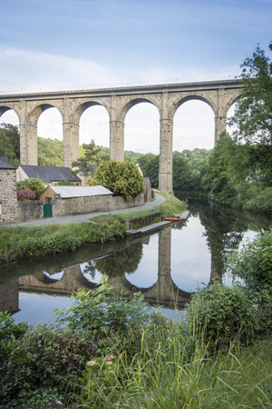 rance: Portrait view of the viaduct at Dinan, Brittany, France, crossing the river Rance
