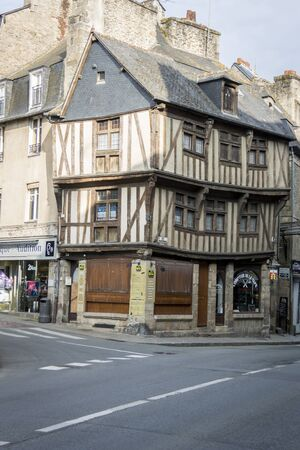 brittany: DINAN, BRITTANY, FRANCE, 15 JUNE 2015 -  medieval building, in the city of Dinan, Brittany, France Editorial