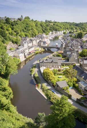 rance: Birds eye view of the Port of Dinan and river Rance Stock Photo
