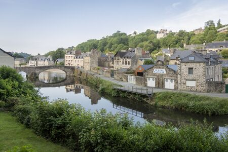 rance: View of the town and bridge crossing the river Rance at Dinan, Brittany, France