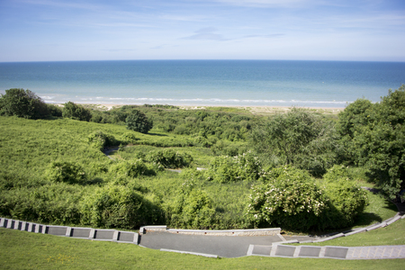 omaha: View of Omaha beach from the American Cemetary, Normandy, France