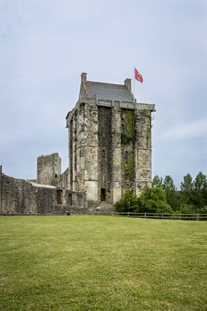 15th century: Chateau de Saint-Sauveur-le-Vicomte,  Normandy, France, 12th - 15th century castle tower Stock Photo