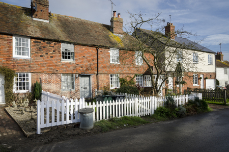 kent: Row of brick and tiled cottages in a village in Kent, UK Stock Photo