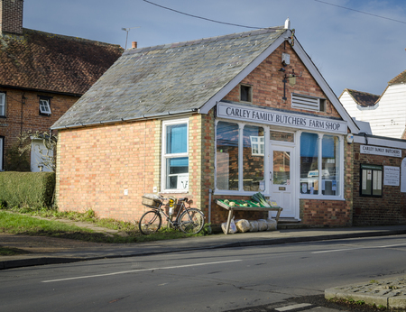 kent: WOODCHURCH, KENT, UK, 25 JANUARY 2016 - Local butchers and farm shop in the village of Woodchurch, Kent, UK Editorial