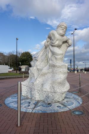 scott: Captain Scott Memorial Cardiff Bay. Wales Editorial