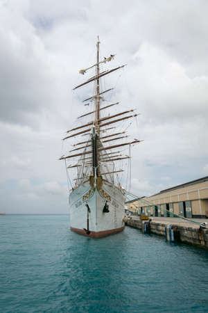 tether: BRIDGETOWN, BARBADOS, 21 DECEMBER 2015 - The Sea Cloud, barque used as a cruise ship in Bridgetown Harbour, Barbados
