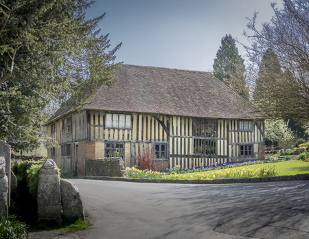 half timbered house: LOOSE, KENT, UK, 16 APRIL 2015 - Ancient half timbered house in the pretty village of Loose, Kent, UK