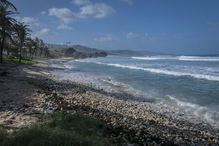 windward: A lonely beach at Bathsheba, on the Atlantic side of Barbados, Lesser Antilles