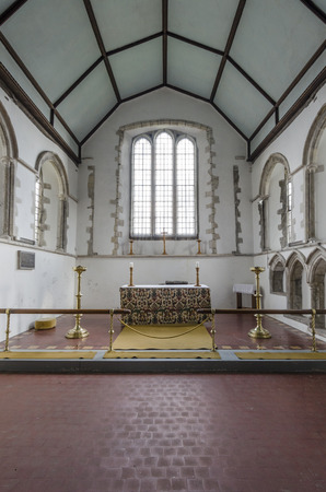 View of the chancel and altar of Saint Augustines church, Brookalnd, Romney Marsh, Kent Editorial