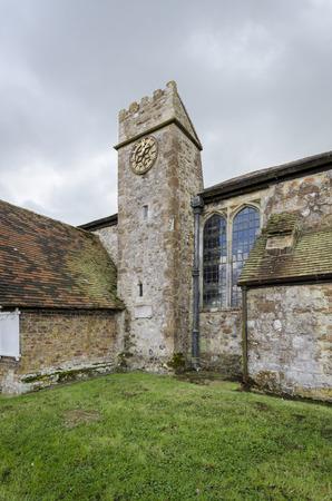 romney: Clock tower of Saint Augustines church, Brookland, Romney Marsh, Kent Stock Photo