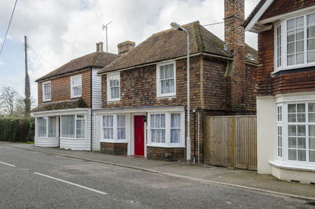 View of the High Street in the village of Brookland, Romney Marsh, Kent Stock Photo