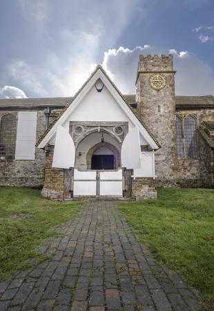 romney: Entrance to St Augustines Church, Brookland, Romney Marsh, Kent