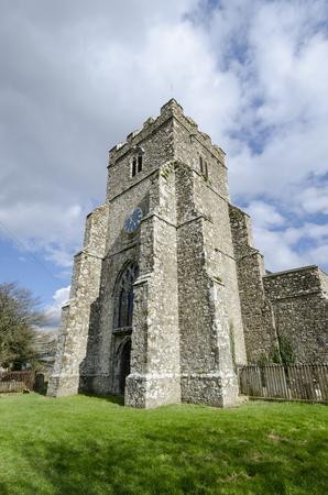 romney: External view of  14th century St Georges church, Ivychurch, Romney Marsh, Kent, UK Stock Photo