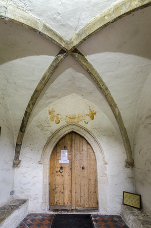 entryway: Church wooden door and porch